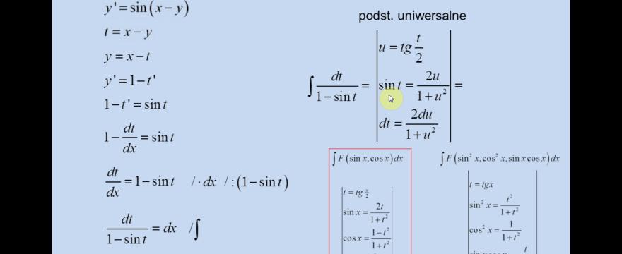 Lekcja 2 – Równania różniczkowe sprowadzalne do zmiennych rozdzielonych przez podstawienie