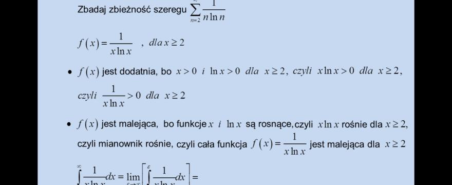 Lekcja 4 – Kryterium całkowe