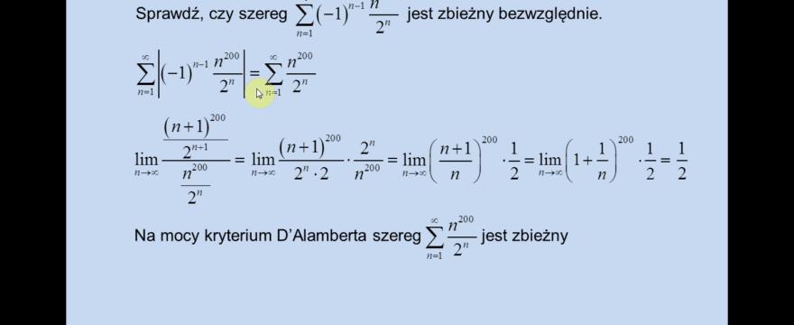 Lekcja 6 – Zbieżność bezwzględna szeregów. Kryterium Leibnitz'a.