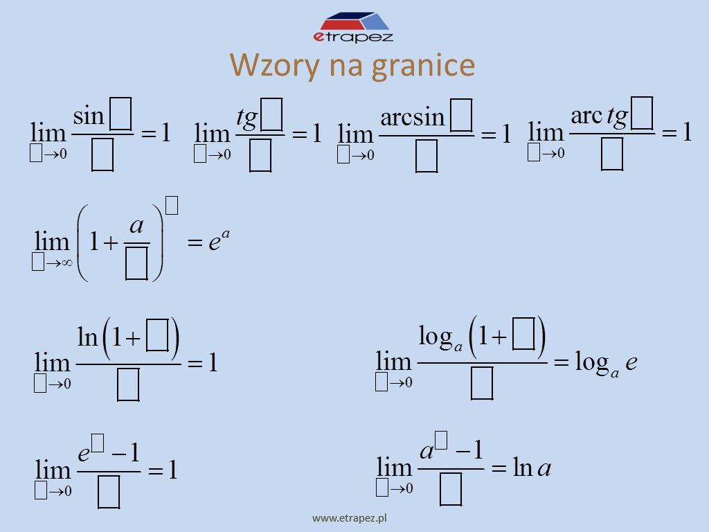 Lekcja 7 – Wzory na granice funkcji