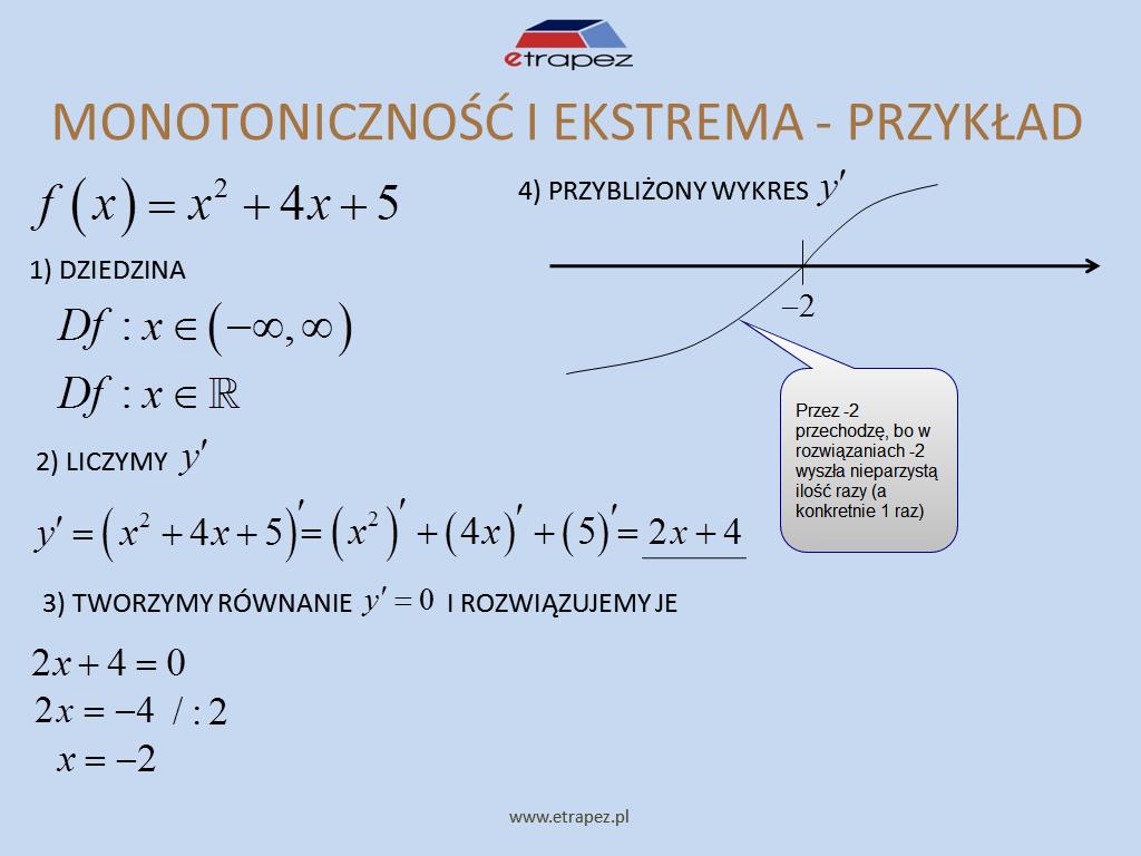 Lekcja 7 – Monotoniczność i ekstrema lokalne funkcji. Najmniejsza i największa wartość funkcji (ekstrema globalne).