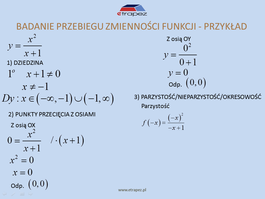 Lekcja 9 – Badanie przebiegu zmienności funkcji (tabelka)
