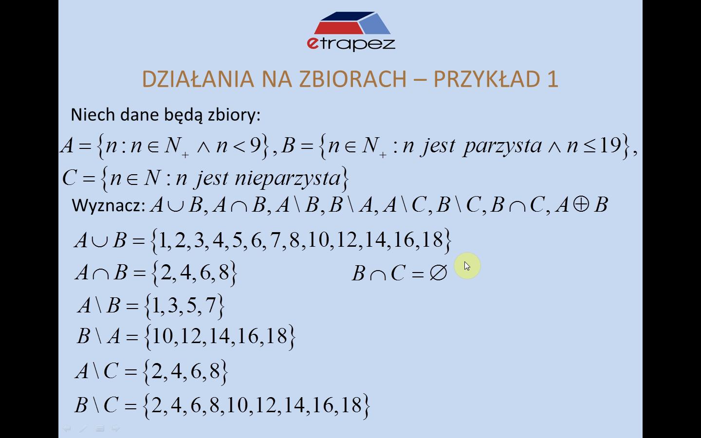 Lekcja 2 – Działania na zbiorach (algebra zbiorów). Dowody i tożsamości. Diagramy Venna.