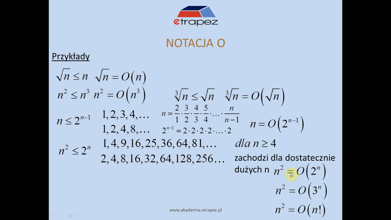Lekcja 7 – Elementy ciągów. Notacja O.