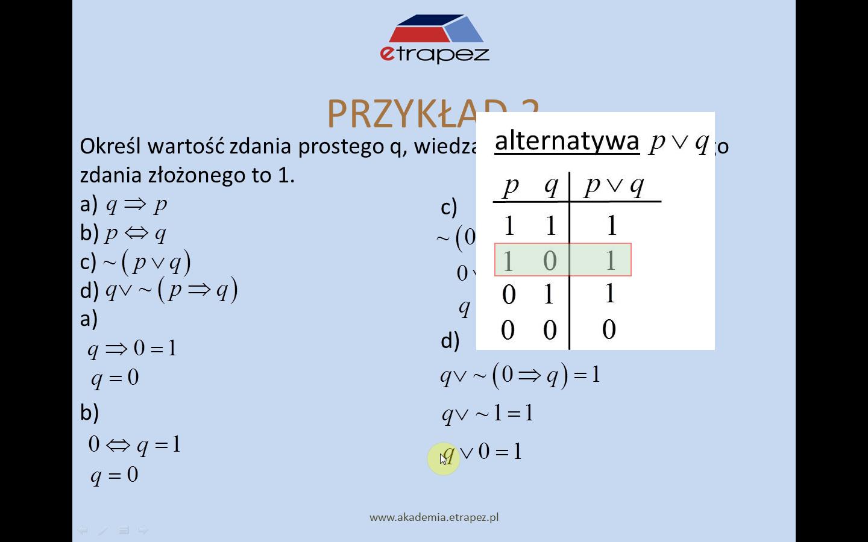 Lekcja 9 – Tablice i spójniki logiczne. Przypisywanie wartości zdaniom złożonym.