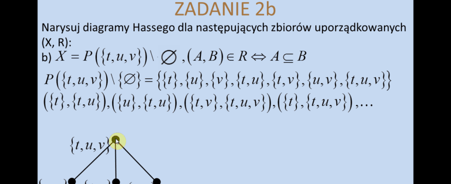 Lekcja 17 – Relacje częściowego porządku. Diagramy Hassego.