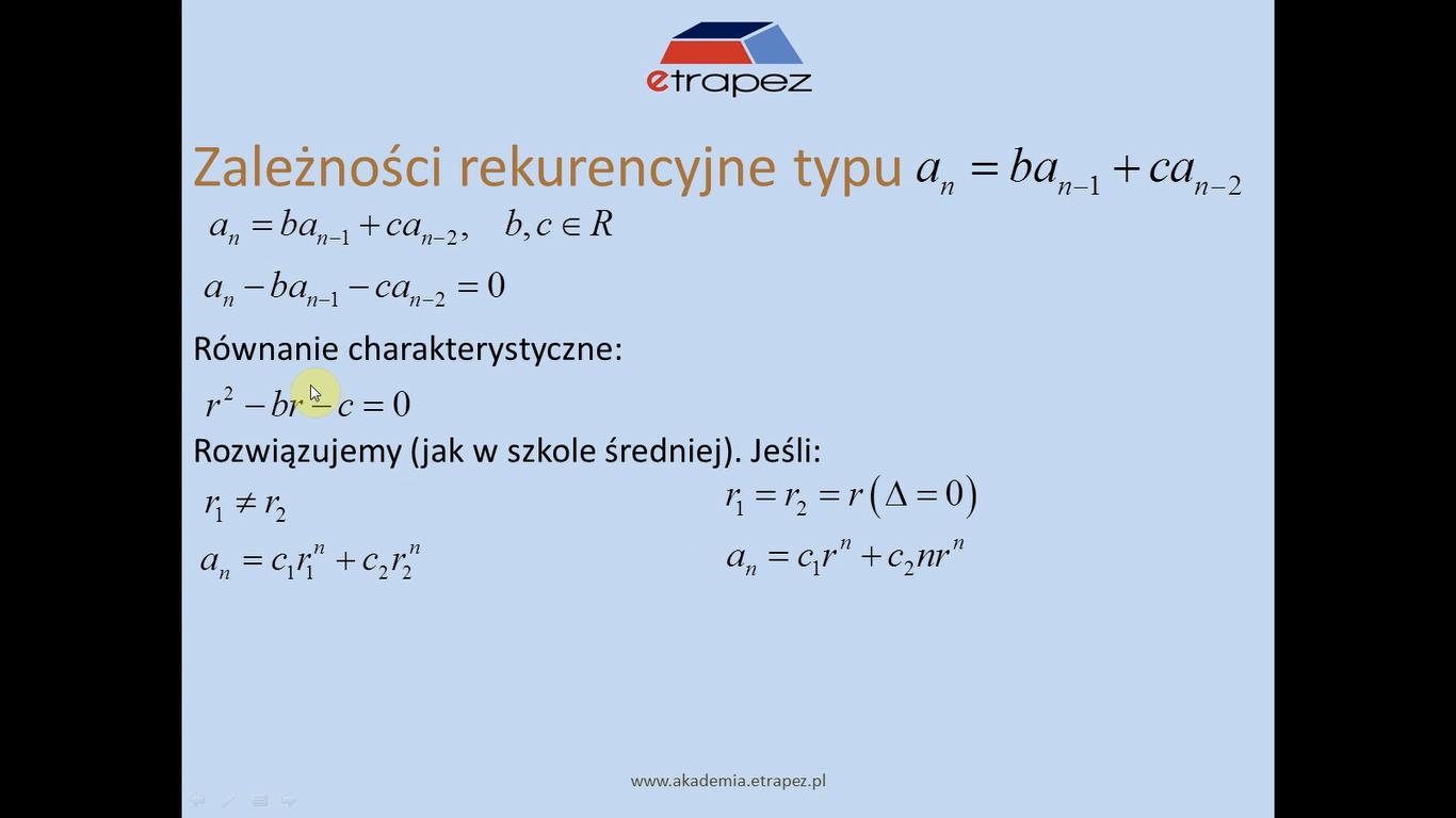 Lekcja 21 – Wyznaczanie wzorów jawnych na ciąg rekurencyjny