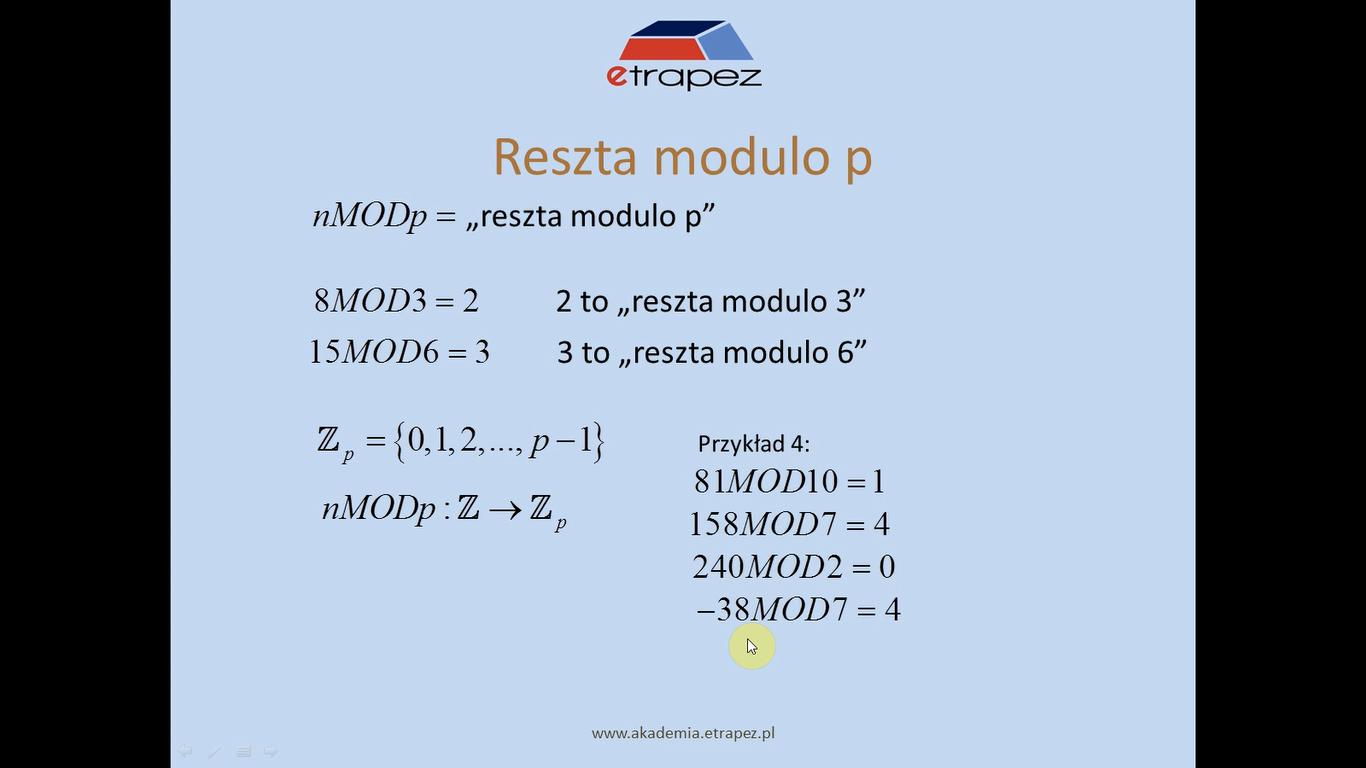 Lekcja 25 – Zbiory Zp i działania modulo