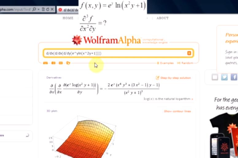 Pochodne cząstkowe i funkcje wielu zmiennych w WolframAlpha
