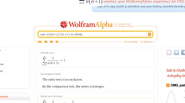 Szeregi w WolframAlpha