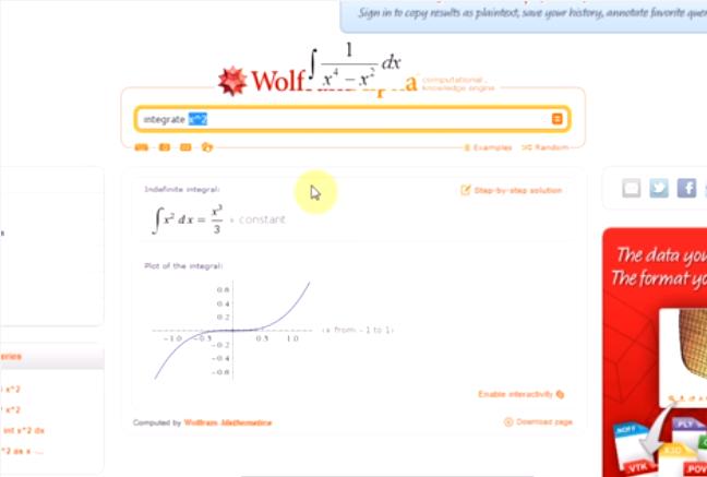 Całki nieoznaczone w WolframAlpha