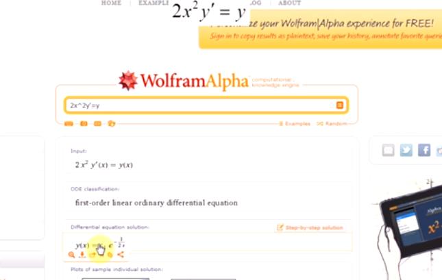 Równania różniczkowe w WolframAlpha