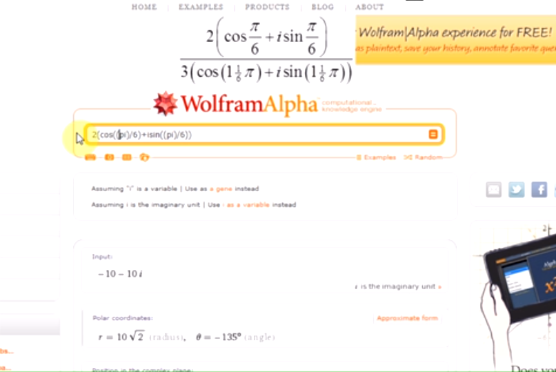Liczby zespolone w WolframAlpha