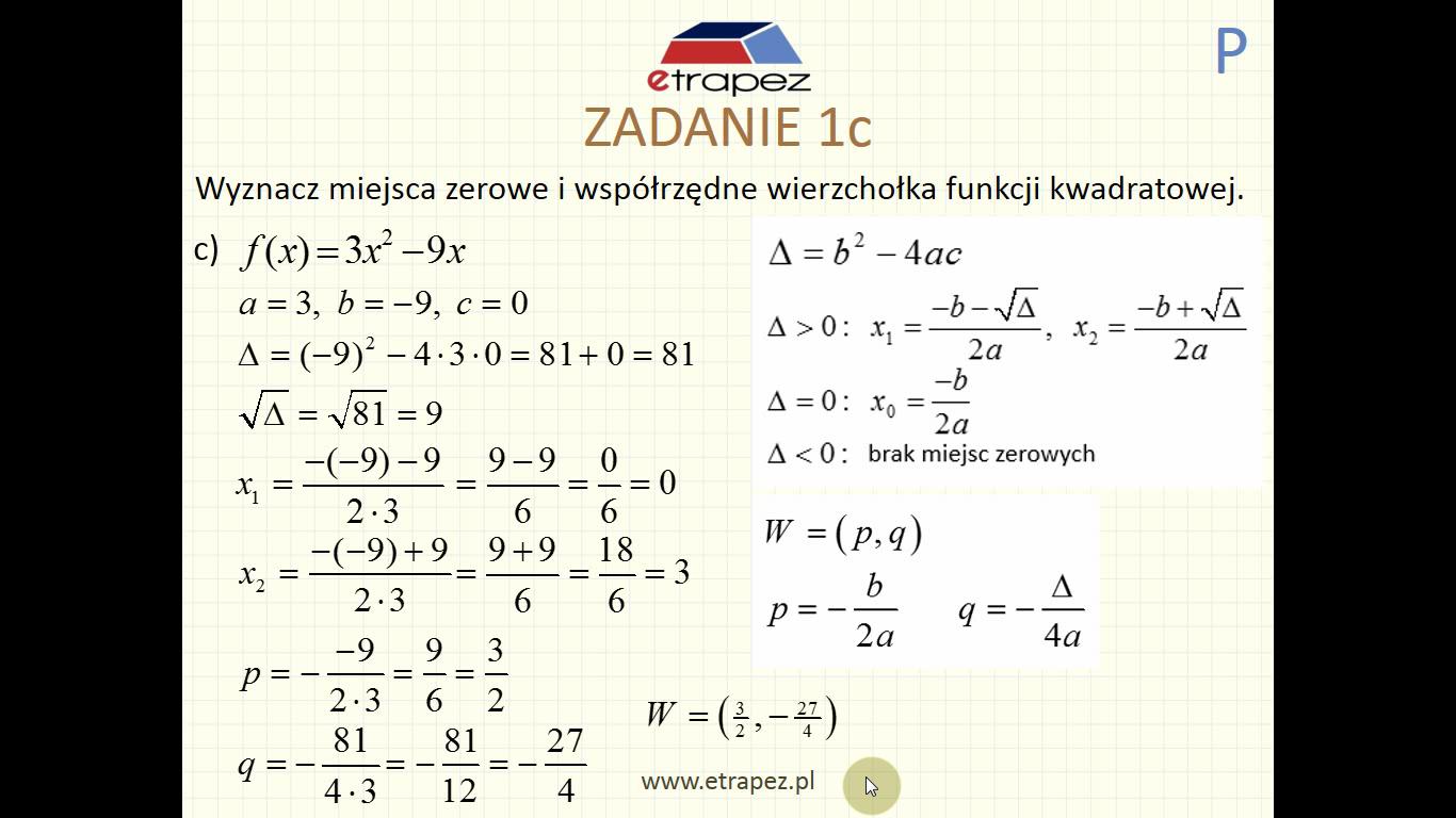 Lekcja 4P – Funkcja kwadratowa