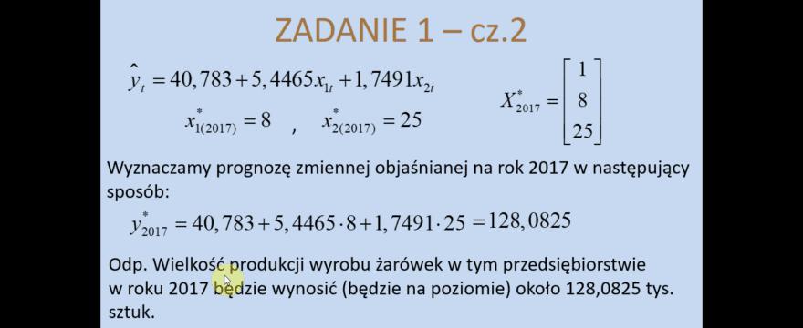 Lekcja 8 – Prognozowanie na podstawie modelu ekonometrycznego