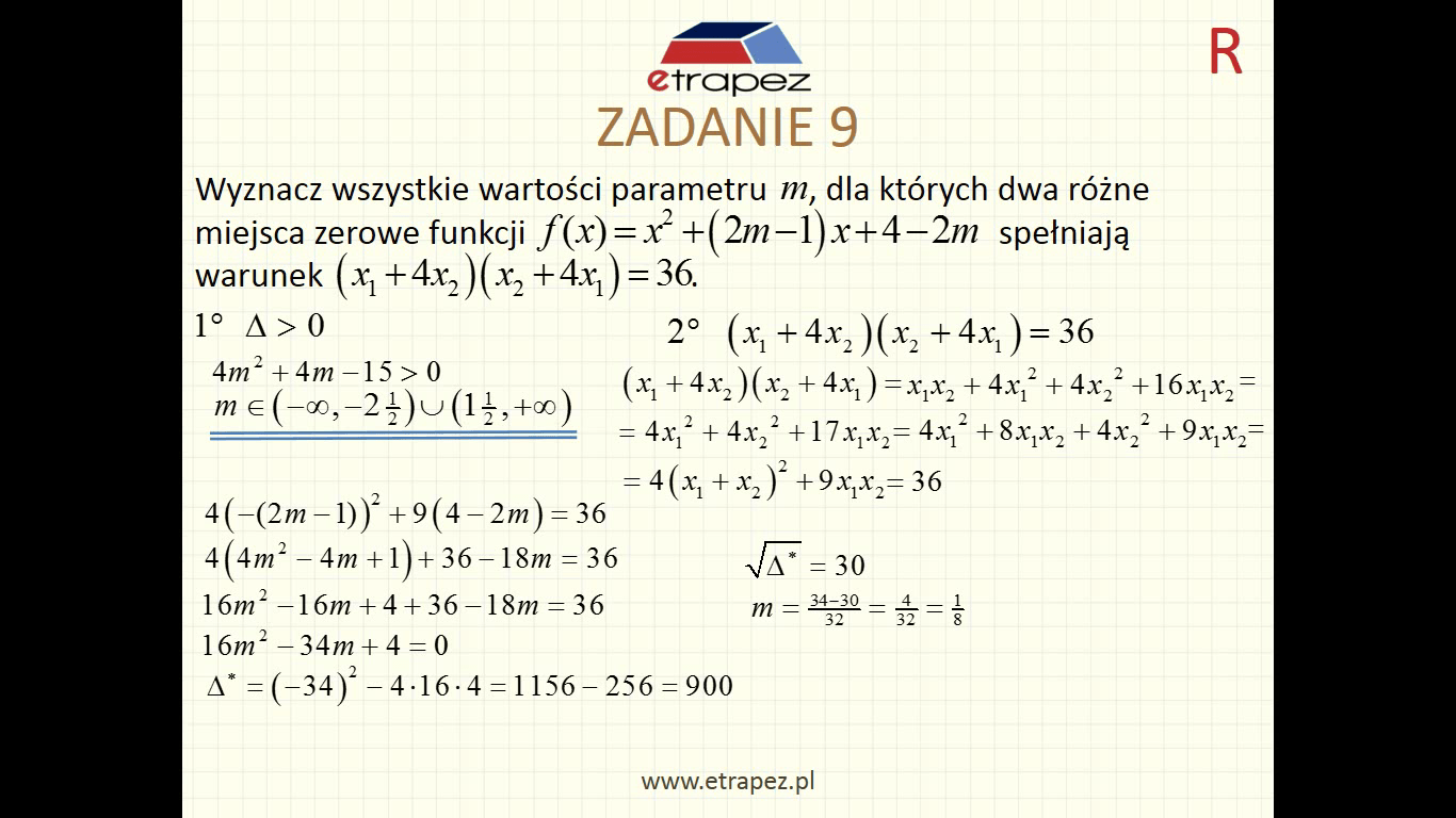Lekcja 4R – Funkcja kwadratowa