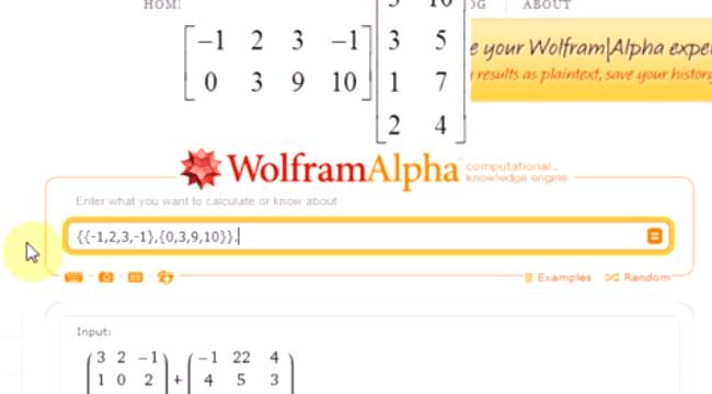 Macierze w WolframAlpha